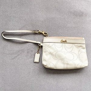 Off White Coach Wristlet Purse w/ Plated Gold